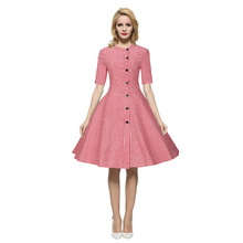 Women Ukraine Large Size Pink Vintage Retro Dresses For Girl Sexy Evening Party Bodycon Vestido Summer Prom Black Plaid Clothing