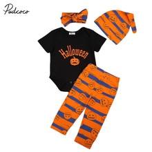 Halloween 4PCS Outfits Newborn Baby Boy Girl Infant Halloween Clothes Kids Cotton Pumkin Print Romper Pants Hats Costume Sets