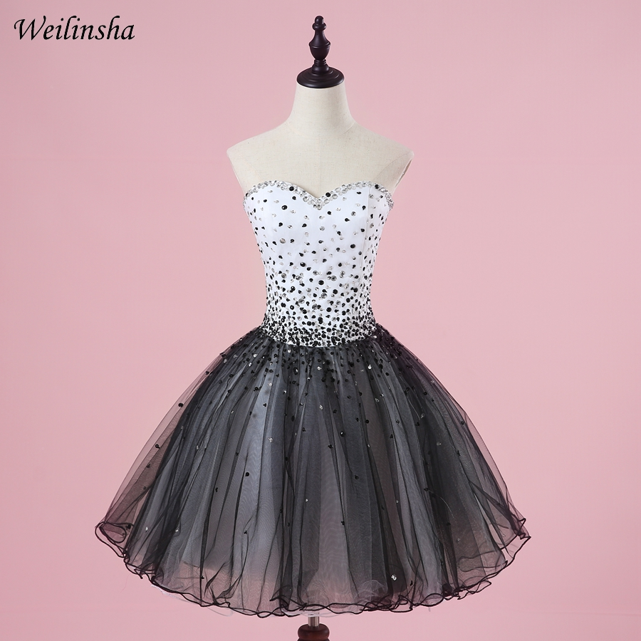 Weilinsha Sexy Sweetheart Sleeveless Cocktail Dresses A line Short Mini Above Knee Length Vestidos de Coctel