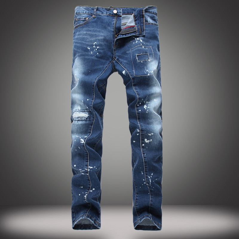 Men 's Holes Stretch Slim Patch Jeans Autumn And Winter Mens Harem Oil Printing Denim Pants For Young Men