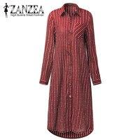 ZANZEA 2017 Autumn Fashion Women S Cotton Linen Shirt Long Sleeve Basic Striped Blouse National Wind