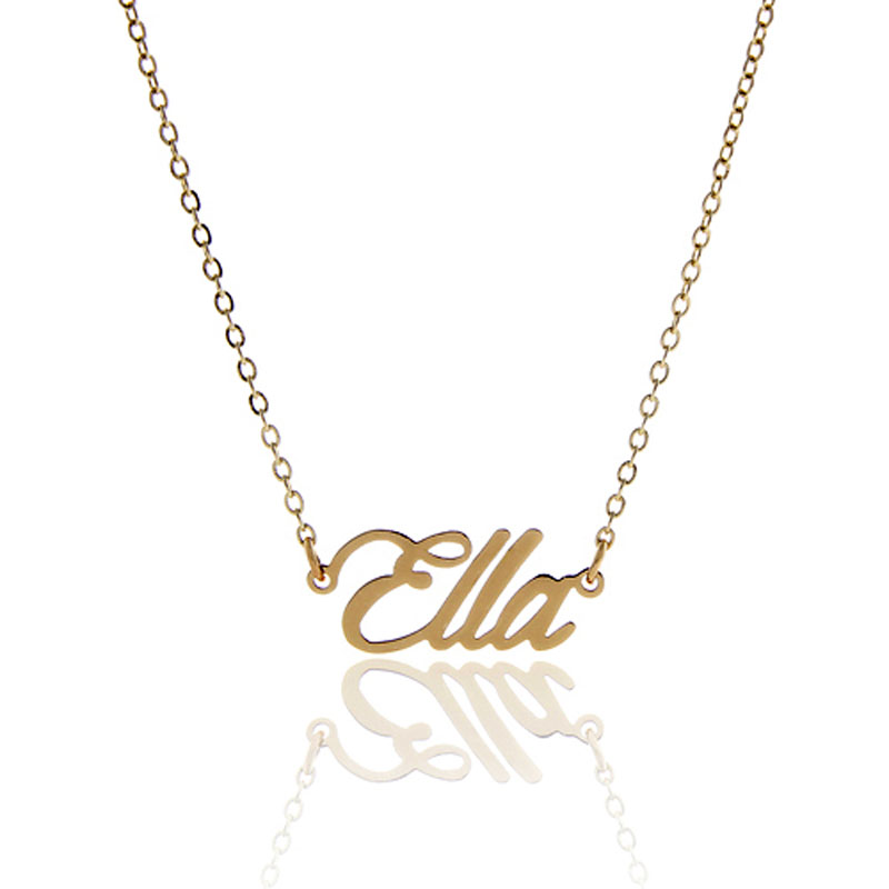 AOLOSHOW Name Necklace Script  Ella  Gold Color Women Jewelry Stainless Steel Nameplate Necklace Latter Pendant Gift Nl-2384