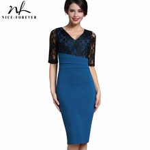 Nice-forever Sexy Mature Ruffle Vintage Dress V-Neck Lace Top Half Sleeve Zipper Club wear Casual Pencil Office Woman dress B336
