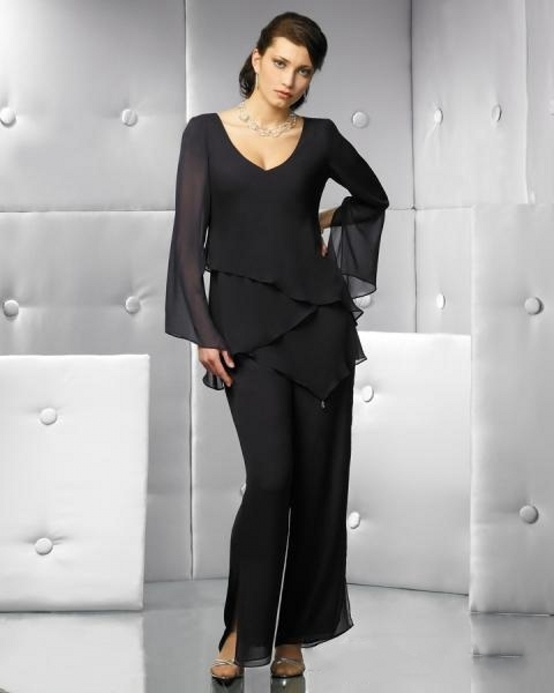 Elegant black mother of bride pant suits 2017 v neck cheap for Cheap wedding guest dresses