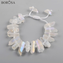 BOROSA 5PCS 11inch AB Electroplated Natural Crystal Cluster Point Clear Quartz Beads Adjustable Bracelets Jewelry WX1149