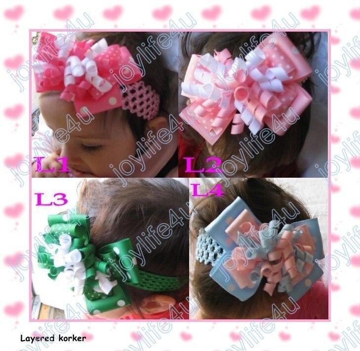 20 шт Новые 4-4,5 ''слоистые банты для волос «коркер» с 1,5'' крючком повязки и розница