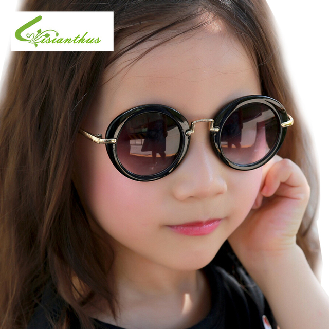 515afd71353a5 Nova Marca Designer Crianças Rodada Óculos De Sol Crianças Meninas Bonito Espelho  Espelho Kawaii Óculos de