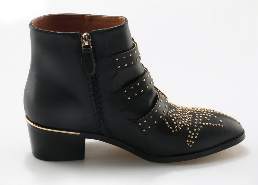 Sexy moda remaches Susanna tachonado cuero hebilla tobillo botas mujeres gatito tacones zapatos de invierno tachonado tobillo botas para mujer - 6