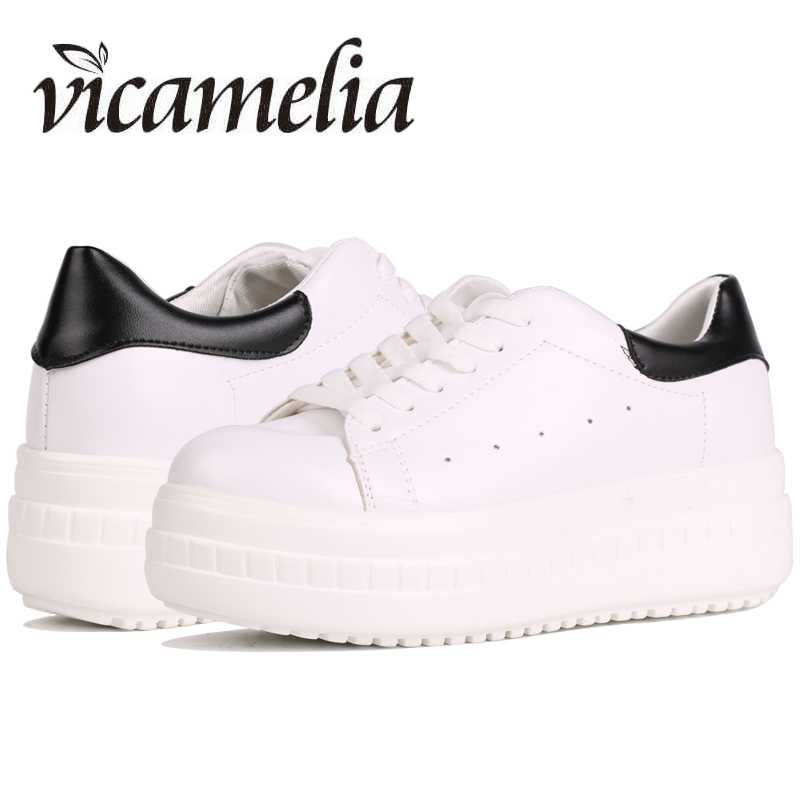 Vicamelia 2018 Fashion Women Shoes White Flat Platform Shoes Lace Up Casual Shoes Slipony Ladies Footwear Chaussures Femme 005 new 2017 fashion women shoes led for adults schoenen casual chaussures lumineuse light up shoes femme luminous gold silver shoes