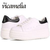 Vicamelia 2018 Fashion Women Shoes White Flat Platform Shoes Lace Up Casual Shoes Slipony Ladies Footwear Chaussures Femme 005