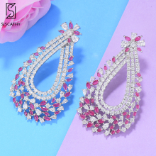 SisCathy Trendy Big Waterdrop Earrings for Women Cubic Zirconia Wedding Vintage Jewelry Full Micro CZ Zircon Long