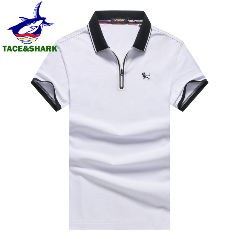 TACE&SHARK Brand Clothing Men Zipper   Polo   Shirt Men Business & Casual Solid Male Dog Embroidery Black   Polo   Shirt High Quality