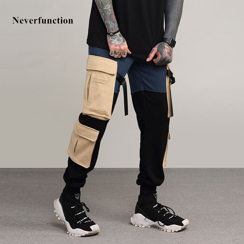 Neverfunction Stitching More Pockets Ribbon Men Slim Casual Long Pants High Quality Fashion Drawstring Trousers Men Sportswear
