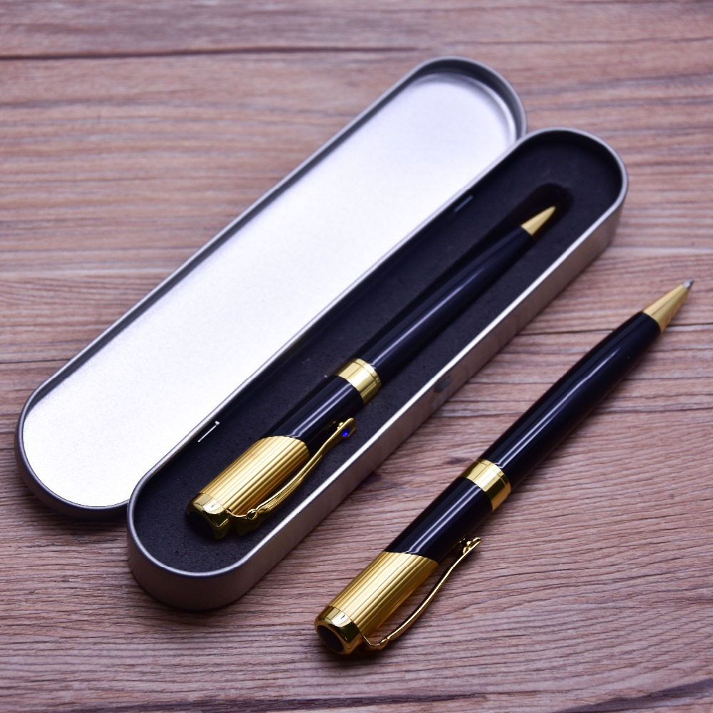 Guoyi D28 Wholesale sale 50pc pen/Lot two-color gold metal Ballpoint Pen. High Quality Office School stationery Metal pen