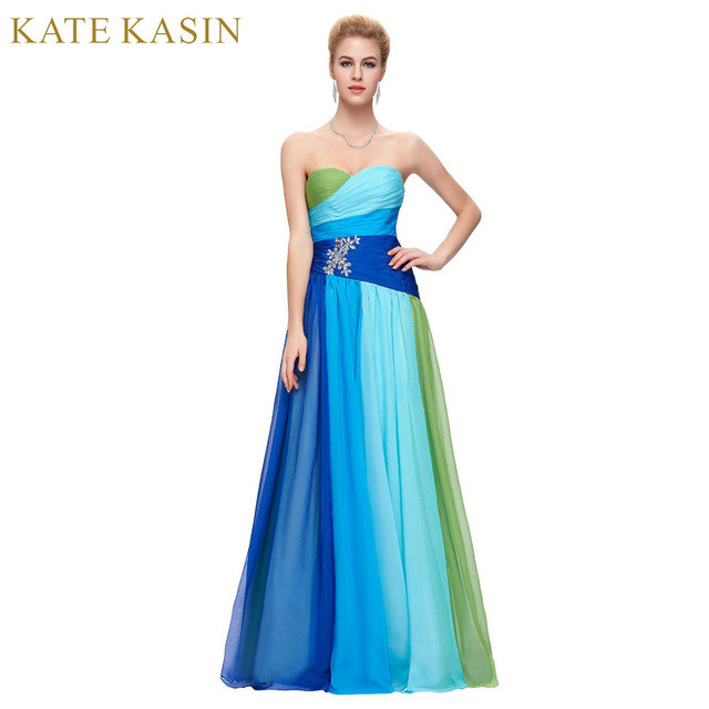Plus Size Avondjurken 2017 Gradiënt Ombre Rood Blauw Lange Gown ...