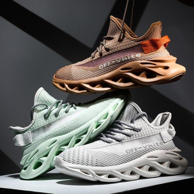 Yaz erkek ayakkabıları 2020 yeni trend nefes spor eğlence gece lambası kişilik uçan dokuma INS çift ayakkabı