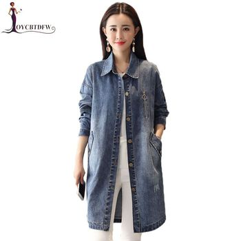 2019 New Denim Jacket Spring Medium Long Women Outerwear Autumn Casual Single-Breasted Fashion Jacket Slim Feminina Coats DD0893