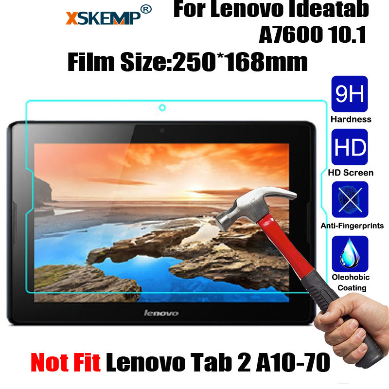 XSKEMP 9H Hardness Real Tempered Glass For Lenovo Ideatab A7600 10.1 Ultra Clear Glossy Tablet Screen Protector Protective Film