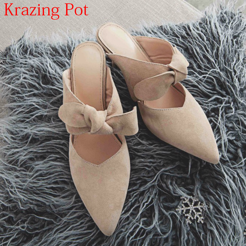 2018 New Superstar Kid Suede Pointed Toe Slingbacks Stiletto Thin High Heels Bowtie Mules Preppy Style Elegant Women Sandals L06 elegant women s round toe pumps with stiletto and suede design