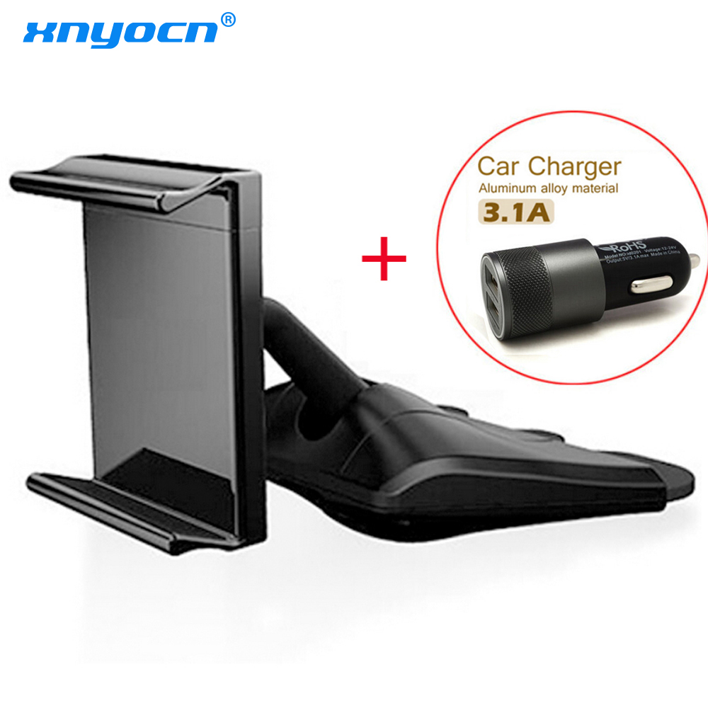 Universal authentic Korean car phone holder mount CD Smart phones CD holder 2.1A+1A Dual USB Port USB cargador coche de carga