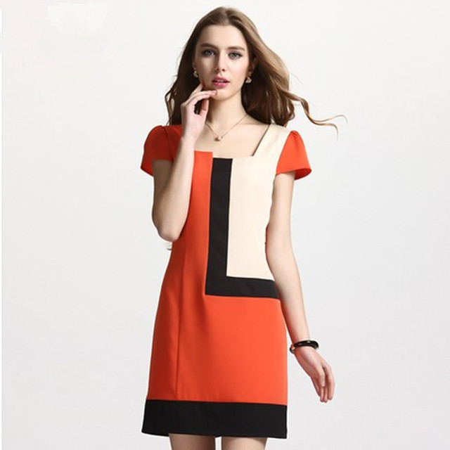 S-XXL  2013 Plus size clothing summer  patchwork chiffon plus size one-piece dress
