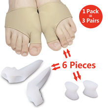 6 Piece/pack Toe Separator Hallux Valgus Tool Thumb Protector Bunion Adjuster Pain Relief Straighten Bent Toes Feet Care