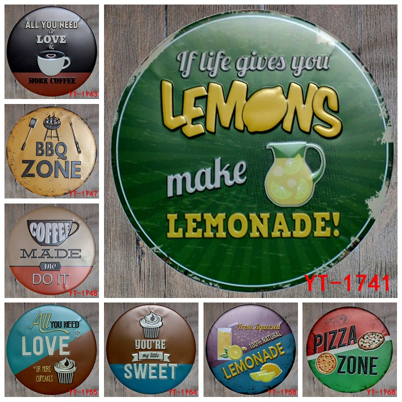 30X30CM/ round plates antique retro metal tin signs BBQ pizza lemonade love sweet Iron painting poster vintage home wall plaque