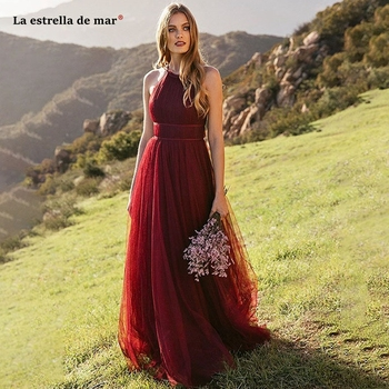 Vestido madrinha2019 new tulle hanging neck back A line gray green burgundy bridesmaid dresses long wedding guest dress