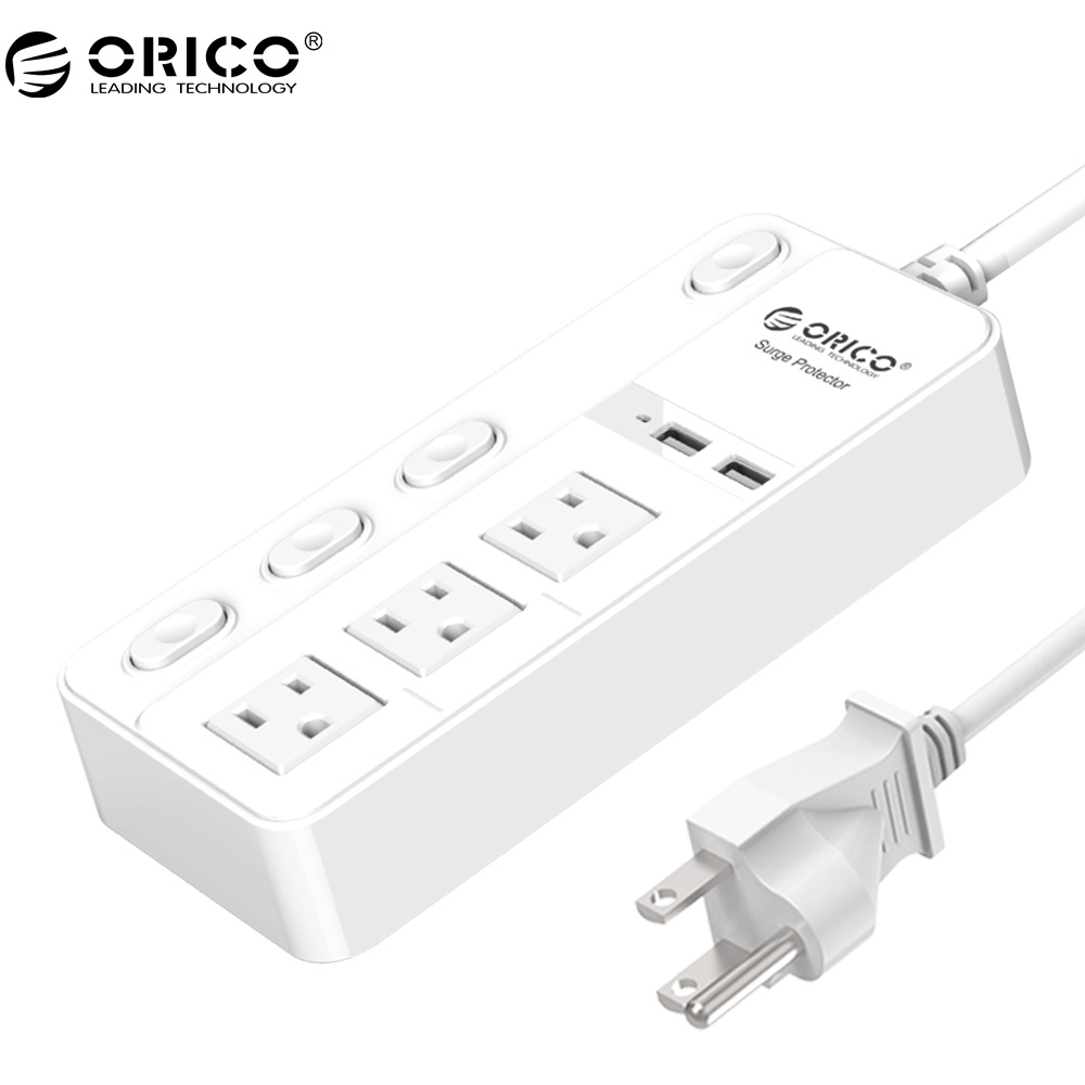 orico usb smart charger surge protector power strip 3 ac socket with 2 usb charging ports power. Black Bedroom Furniture Sets. Home Design Ideas