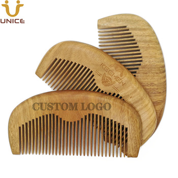 100 pcs/lot New Arrival Top Quality Natural Green Sandalwood Comb Customized LOGO Beard Combs Hair Comb Custom Wooden Comb