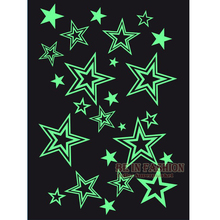 Glow In The Dark Flash Tattoo Sticker On Body Stars Luminous Glowing Fake Tattoos Fluorescent Faux Tatouage Halloween Darkness