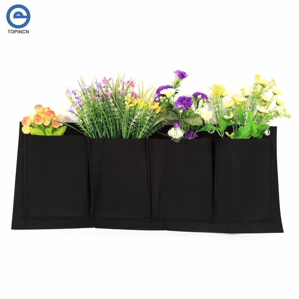 5 pcs intérieur extérieur mur suspendus planteur vertical horizontal feutre jardin des plantes poussent récipient sacs