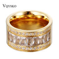 12mm Wide New Gold Color Ring Stainless Steel Bagues Femme Beautiful Rhinestone Cheap Party Engagement Ring Accessory Gift 2017