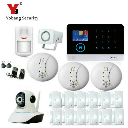 YobangSecurity Touch Screen GPRS GSM WiFi Alarm System Security Android IOS APP Wifi Ip Camera Door Sensor Wireless Strobe Siren