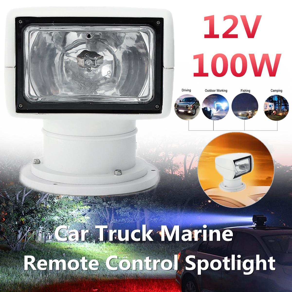 Boat Truck Car Spotlight 12V 100W 2500LM 3200K Marine Searchlight Light Bulb Remote Control PC+Aluminum Multi-angled White marine boat spotlight remote control searchlight truck car rv 24v 100w bulb