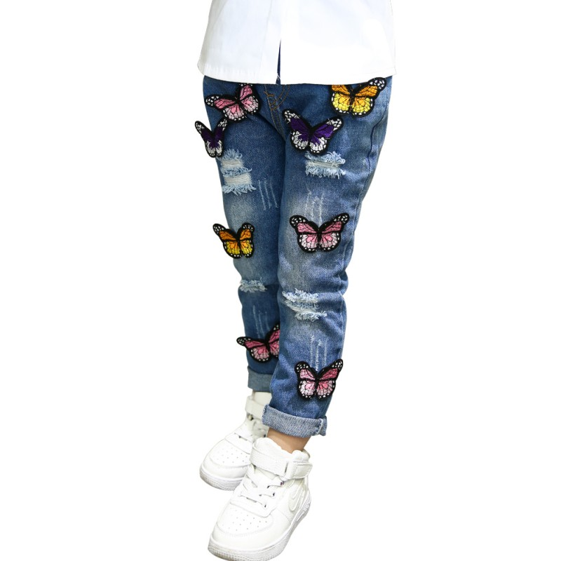 Children's Clothing Girls Jeans For Girls Butterfly Hole Baby Cowboy Trousers 3-7T Old Children's Pants