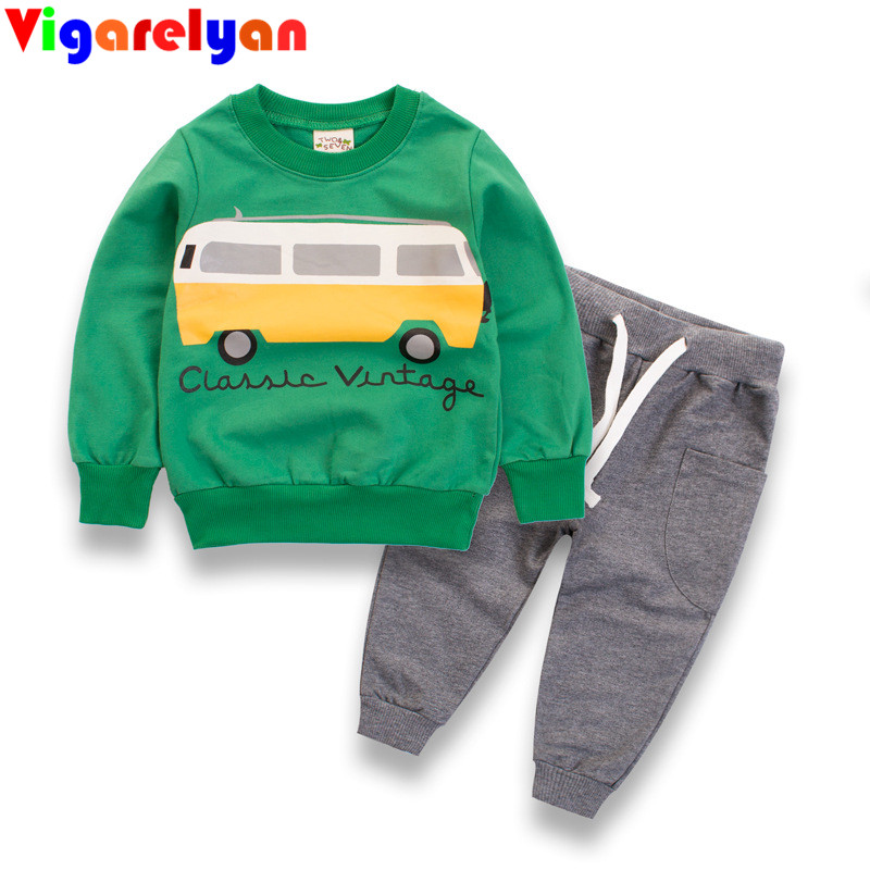 Baby Boys Long Sleeve Cotton T-shirt Spring Children Vestidos Boys Tops+Pant 2PCS Outfit Kids Clothing Autumn Baby Clothes Suits 2017 new fashion children girl clothes off shoulder long sleeve t shirt tops hole denim pant jeans 2pcs outfit kids clothing set