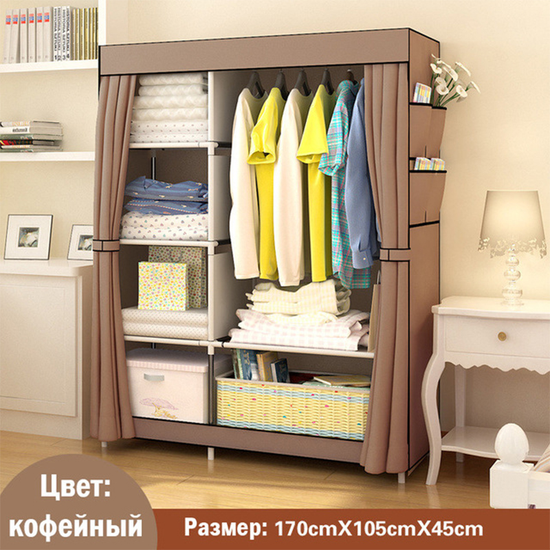 Simple Modern Wardrobe Dust-proof Fabric Convenient Cloth Wardrobe Assembled Steel Reinforced Steel Rack Storage Cabinet