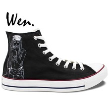 Wen Unisex Hand Painted Casual Shoes Custom Design Death Grips Band Men Women's High Top Canvas Shoes Christmas Birthday Gifts