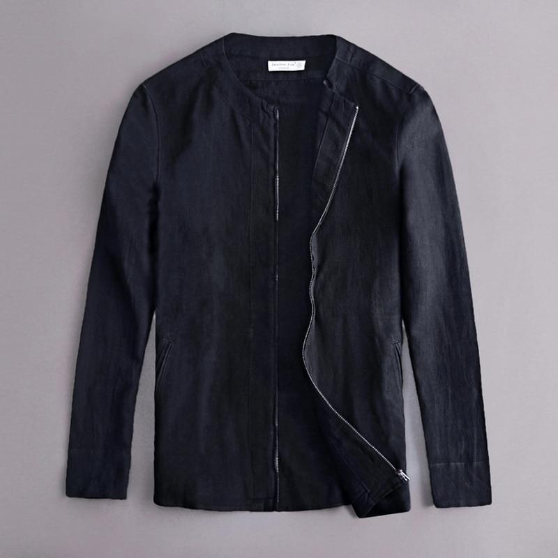 간단한 패션 Suhaiwe의 브랜드 봄 자켓 남성 리넨 오 넥 긴 소매 면화 남성 자켓 캐주얼 디자이너 의류 Chaqueta