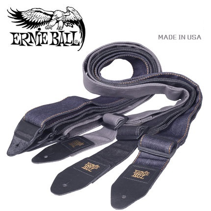 Ernie Ball 2 Denim Guitar Strap with 3 Style, Black Fade / Indigo Rinse / Slate Wash, Made in USA