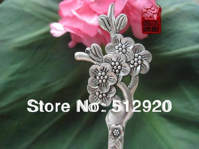 Traditional Chinese Silver Hair Sticks/Hairpins with plum blossom