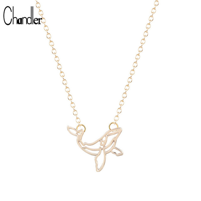 2017 New Famous Brand Silver Whale Pendant Necklace Long Chain Statement Alloy P