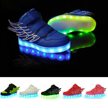 2017 Autumn new colorful children's shoes LED USB Rechargeable Children PU leather boys and girls sports shoes size 25-37 light