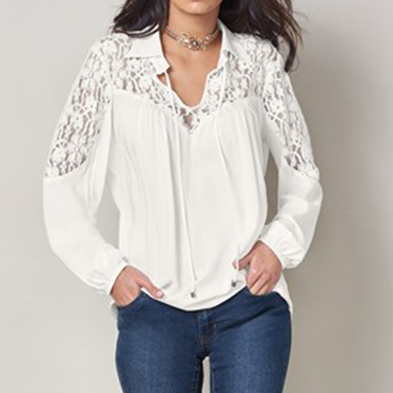 ZANZEA 2018 Summer Autumn Women Lapel Long Sleeve Blouse Solid Lace Crochet Shirt Casual Baggy Blusas Office White Top Plus Size