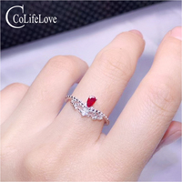 CoLife Jewelry Vintage Silver Ring Ring 3*5mm Pear Cut Natural Blood Red Ruby Silver Ring 925 Silver Ruby Jewelry Gift for Girl