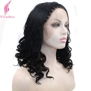 Image 4 - Yiyaobess 16inch Micro Lace Front Braid Wig Short Blonde Black Wigs For Women Heat Resistant Synthetic Hair