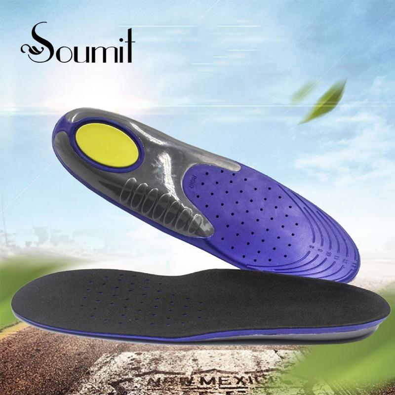 Soumit PU Soft Massage Cushion Sports Insoles for Man Plantar Fasciitis Running Sport Shock Absorption Insole Feet Care Pads