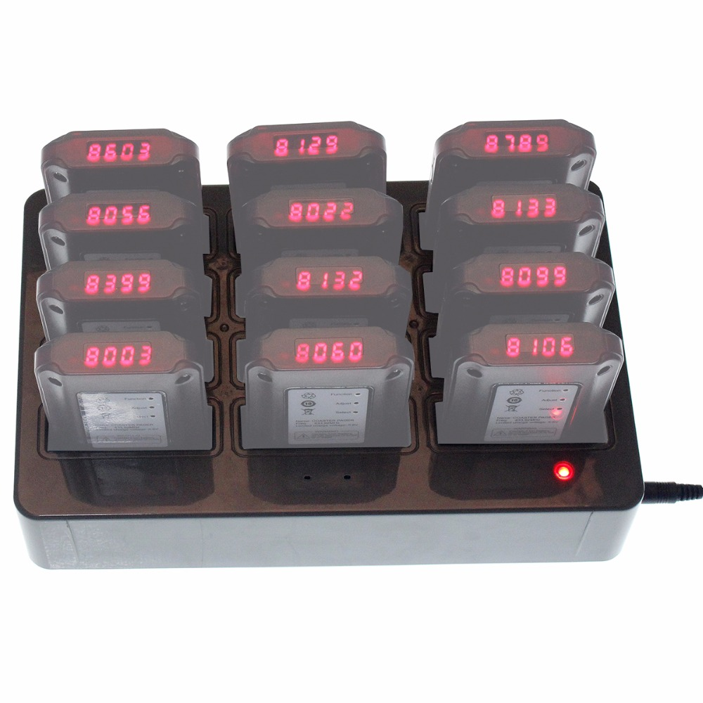 Restaurant Equipment 12 Coaster Pager Slots Charger Base For Restaurant Wireless Paging Queuing System F4494H wireless service call bell system popular in restaurant ce passed 433 92mhz full equipment watch pager 1 watch 7 call button