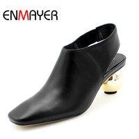 Enmayer منصة مضخات الكعوب الشاذ أحذية النساء مضخات الأزياء ساحة تو غريب أسلوب السببية أحذية الزفاف امرأة